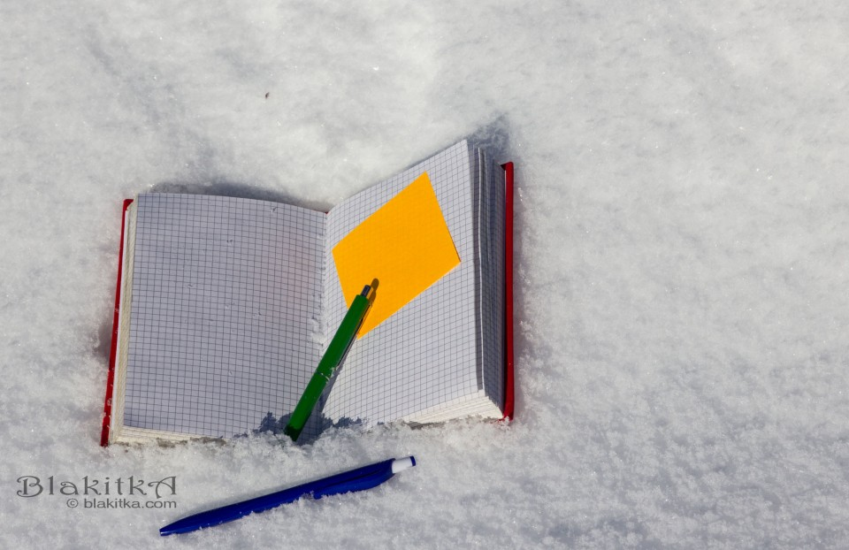 Old notebook on snow