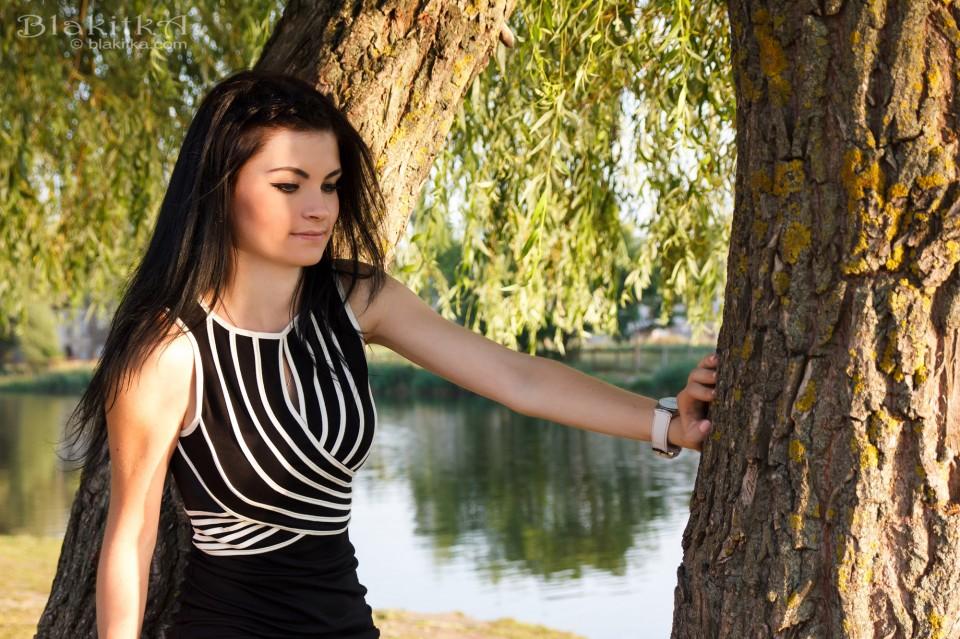 Girl, trees, river