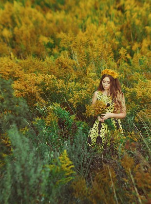 Yellow flowers, sunset, girl