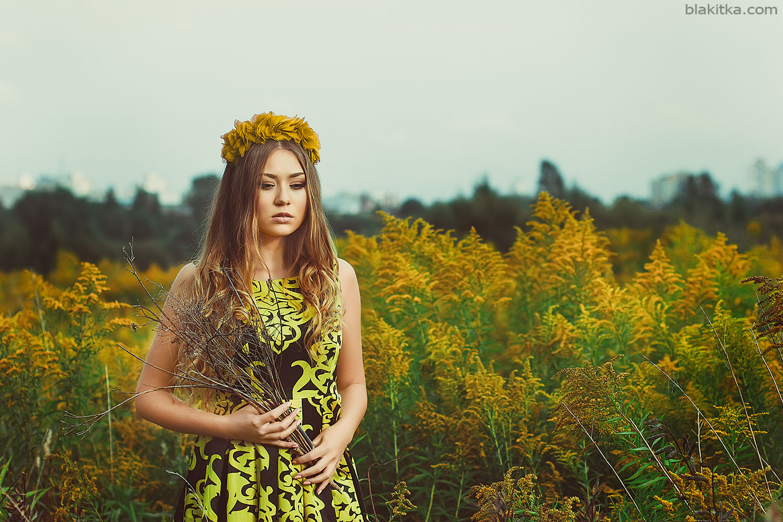 Yellow flowers, sunset, girl, white, beauty, woman